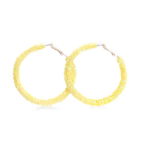 Bead Hoop Earring - Yellow