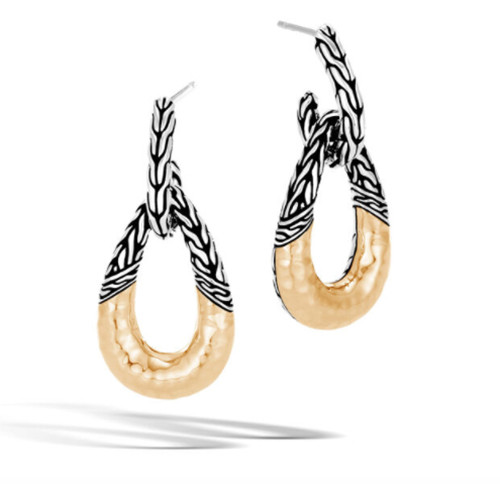 Classic Chain Hammered Hoop Earrings - Silver