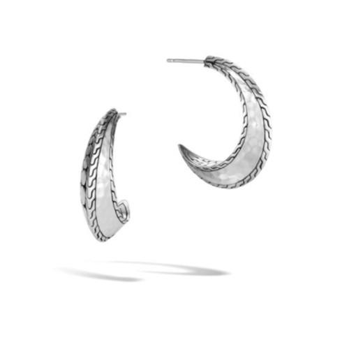 Dot Hammered Small J Hoop Earrings