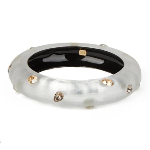 Crystal Studded Small Bangle - Silver