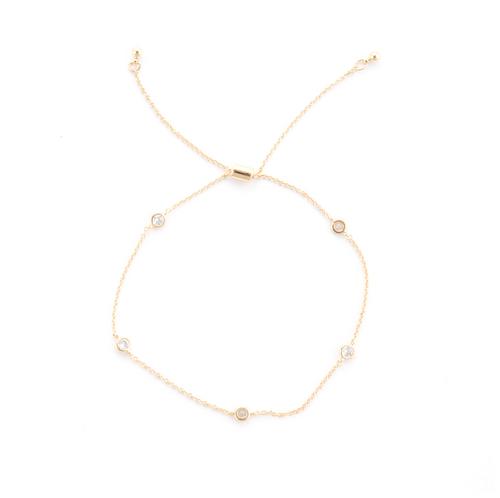 5 Stone Pull Tie Bracelet