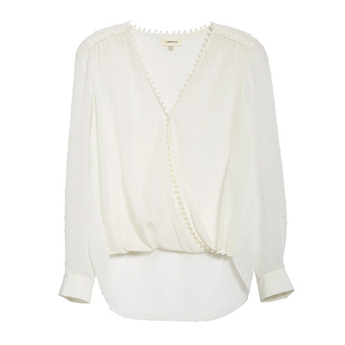 Perry Fabric Blocked Blouse - Ivory/Ivory Combo