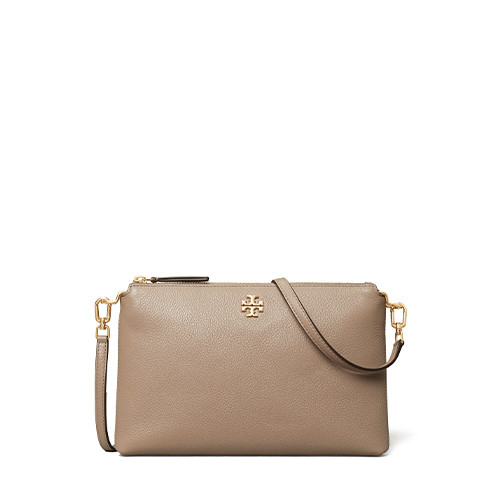 Kira Pebbled Top-Zip Crossbody - Grey Heron