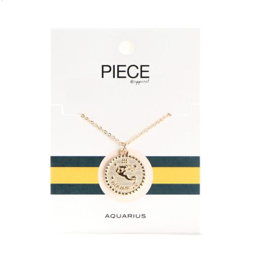 Aquarius Coin Necklace - Gold