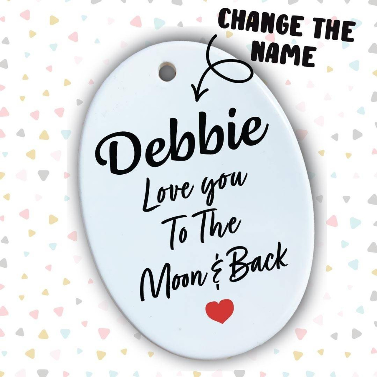 Ceramic Plaques Custom Name Love You To The Moon and Back Oval Ceramic Plaque