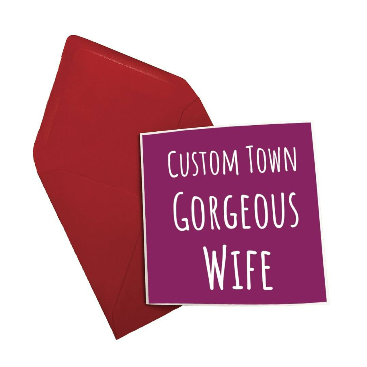 Morning Cuppa Custom Town Gorgeous Wife Card