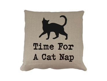 Morning Cuppa Time For A Cat Nap Cushion