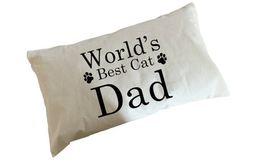 Morning Cuppa Worlds Best Cat Dad Flock Accent Rectangle Cushion With Feather Filler