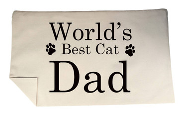 Morning Cuppa Worlds Best Cat Dad Rectangle Cushion Cover Flock Accent