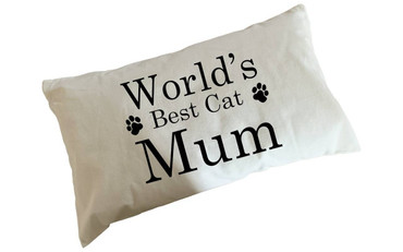 Morning Cuppa Worlds Best Cat Mum Flock Accent Rectangle Cushion With Feather Filler