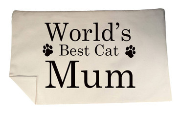 Morning Cuppa Worlds Best Cat Mum Rectangle Cushion Cover Flock Accent