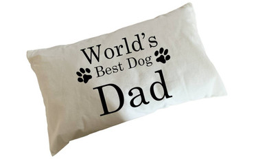 Morning Cuppa Worlds Best Dog Dad Flock Accent Rectangle Cushion With Feather Filler