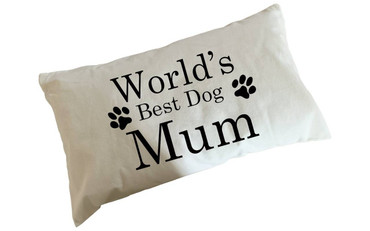 Morning Cuppa Worlds Best Dog Mum Flock Accent Rectangle Cushion