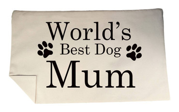 Morning Cuppa Worlds Best Dog Mum Rectangle Cushion Cover Flock Accent
