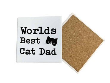 Morning Cuppa Worlds Best Cat Dad Coaster