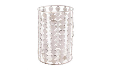 Valentines Metal Heart Candle Holder With Glass