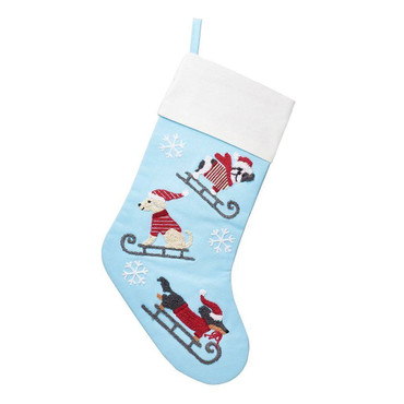 Sass and Belle Dogs On Sledges Embroidered Stocking