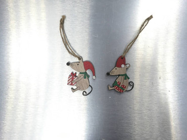 Heaven Sends Hanging Wooden Mice with Present