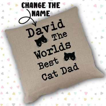 Cats Custom Name The Worlds Best Cat Dad Cushion