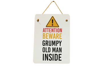 Morning Cuppa Attention Beware Grumpy Old Man A5 Metal Plaque