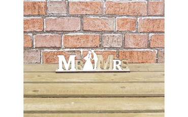 The Satchville Gift Company Wooden Mr and Mrs Sign with Figures