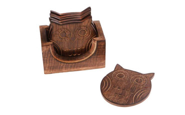 Sass and Belle Set of 6 Wooden Owl Coasters