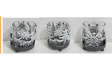 The Satchville Gift Company Round Metal Christmas Tealight Holder