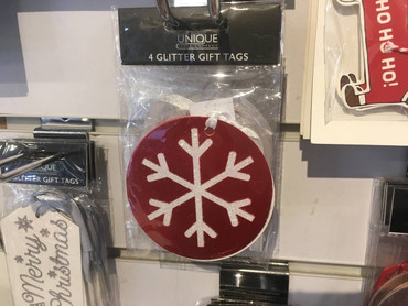 The Unique Paper Company Glitter Gift Tags Snowflake White on Red