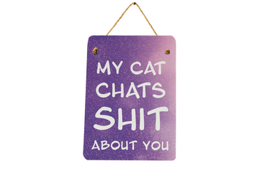 Morning Cuppa My Cat Chats Sht About You Mini Metal Plaque