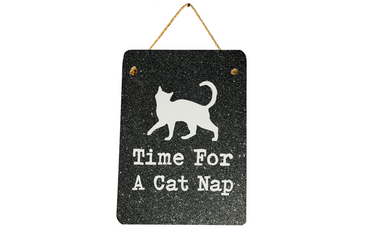 Morning Cuppa Time For A Cat Nap Mini Metal Plaque