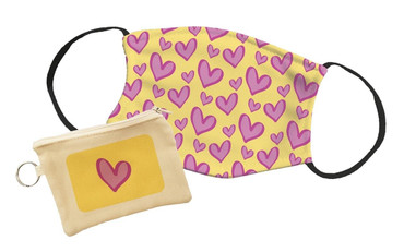 Morning Cuppa Pink Heart Pattern and Yellow Background Face Mask With Face Mask Pouch