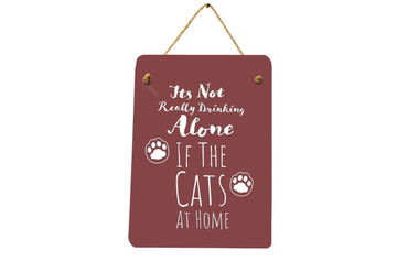 Morning Cuppa Is It Really Drinking Alone Cat Mini Metal Plaque