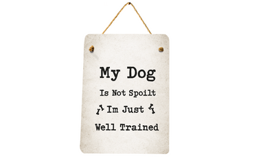 Morning Cuppa My Dog Is Not Spoilt Mini Metal Plaque