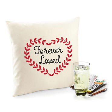 Cream Tee Forever Loved Square Organic Cotton Natural Cushion