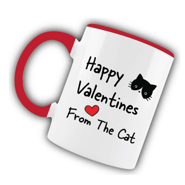 Morning Cuppa Happy Valentines From The Cat Red Mug