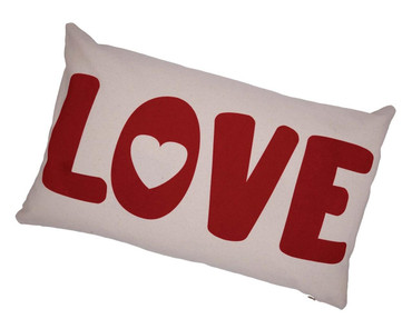 Cream Tee Love Is Bold Red Flock Rectangle Cushion With Feather Filler