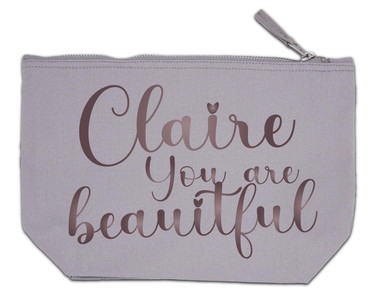 Morning Cuppa You Are Beautiful Personalised Name Large Grey Make Up Bag
