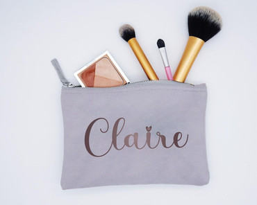 Morning Cuppa Grey Compact Make Up Bag With Personalised Name