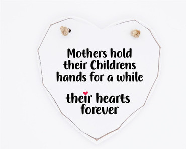 Morning Cuppa Mothers Hold Childrens Hands Wooden White Heart
