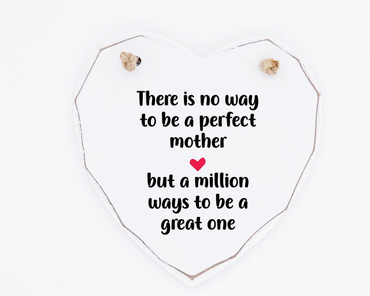 Morning Cuppa Perfect Mother Wooden White Heart