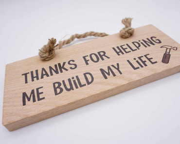 Morning Cuppa Build My Life Oak Wood Plaque