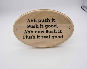 Morning Cuppa Flush It, Flush It Real Good Wooden Toilet Plaque