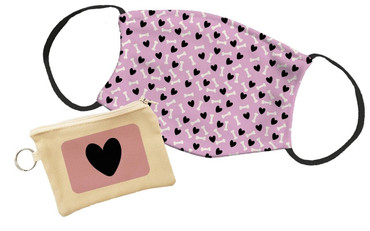 Morning Cuppa Black Heart Pouch With Face Mask