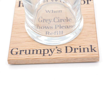 Morning Cuppa Reserved for Grumpys Drink Oak Coaster