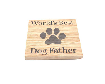Morning Cuppa Worlds Best Dog Father Solid Oak Coaster