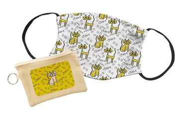 Morning Cuppa Crazy Cat Pattern Face Mask With Face Mask Pouch