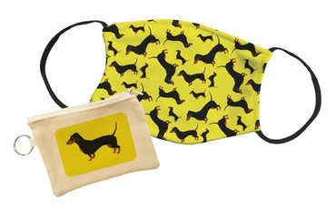 Morning Cuppa Dachshund Face Mask With Face Mask Pouch