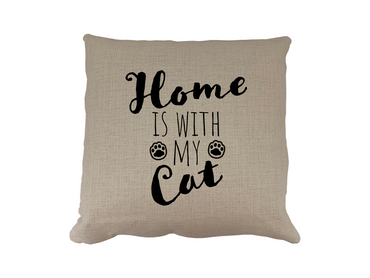 Morning Cuppa Home Is With My Cat Cushion