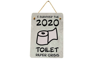 Morning Cuppa I Survived The Toilet Paper Crisis A5 Metal Plaque