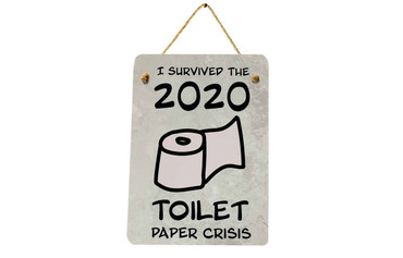 Morning Cuppa I Survived The Toilet Paper Crisis Midi Metal Plaque